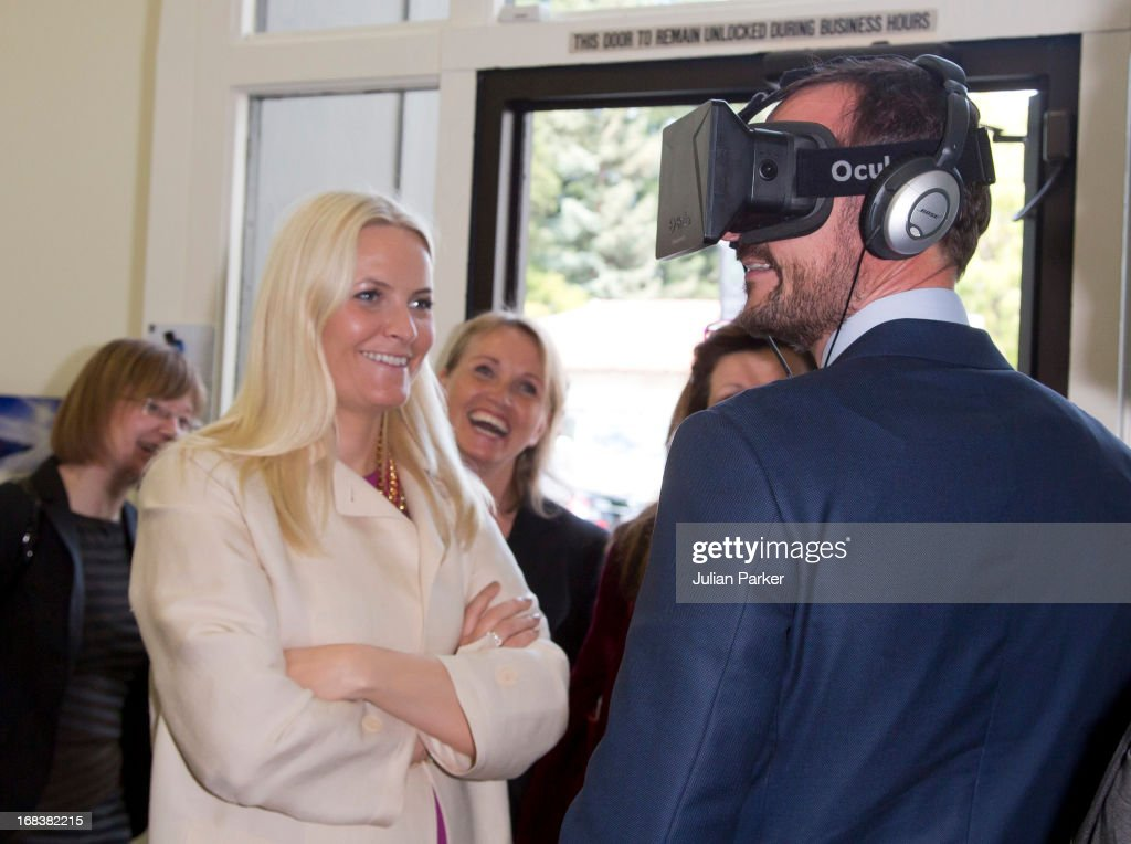 Crown Prince Haakon of Norway and Crown Princess Mette-Marit of Norway visit Innovation House, and view innovative technology products, during day four of their week long visit to the USA, on May 8, 2013 in Palo Alto, United States. The visit by TRH aims to promote Norwegian innovation and to celebrate 40 years of Norwegian participation at the annual Offshore Technology Conference.