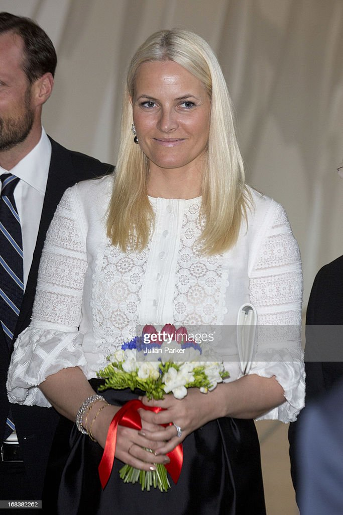Crown Prince Haakon of Norway and <a gi-track='captionPersonalityLinkClicked' href=/galleries/search?phrase=Crown+Princess+Mette-Marit&family=editorial&specificpeople=171288 ng-click='$event.stopPropagation()'>Crown Princess Mette-Marit</a> of Norway attend a reception at SF MOMA, The San Francisco Musuem of Modern Art during day four of their week long visit to the USA, on May 8, 2013 in San Francisco, United States. The visit by TRH aims to promote Norwegian innovation and to celebrate 40 years of Norwegian participation at the annual Offshore Technology Conference.