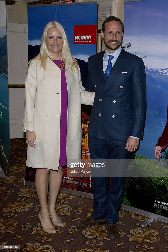 <a gi-track='captionPersonalityLinkClicked' href=/galleries/search?phrase=Crown+Prince+Haakon+of+Norway&family=editorial&specificpeople=158362 ng-click='$event.stopPropagation()'>Crown Prince Haakon of Norway</a> and <a gi-track='captionPersonalityLinkClicked' href=/galleries/search?phrase=Crown+Princess+Mette-Marit&family=editorial&specificpeople=171288 ng-click='$event.stopPropagation()'>Crown Princess Mette-Marit</a> of Norway attend a tourism seminar at The Fairmont Hotel, during day four of their week long visit to the USA, on May 8, 2013 in San Francisco, United States. The visit by TRH aims to promote Norwegian innovation and to celebrate 40 years of Norwegian participation at the annual Offshore Technology Conference.