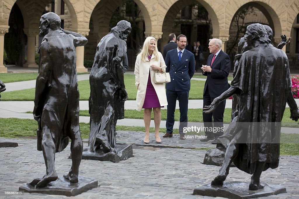 Crown Prince Haakon of Norway and Crown Princess Mette-Marit of Norway visit Stanford University, greeted by the University's President John Hennessy, during day four of their week long visit to the USA, on May 8, 2013 in Stanford, United States. The visit by TRH aims to promote Norwegian innovation and to celebrate 40 years of Norwegian participation at the annual Offshore Technology Conference.