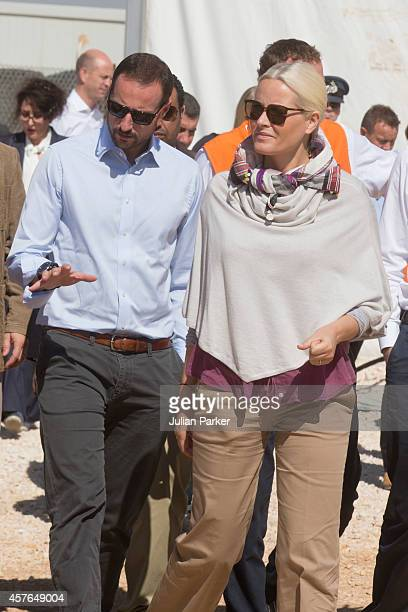 Crown Prince Haakon of Norway and Crown Princess MetteMarit of Norway on a two day visit to Jordan at Zaatari Refugee Camp on October 21 2014 in...