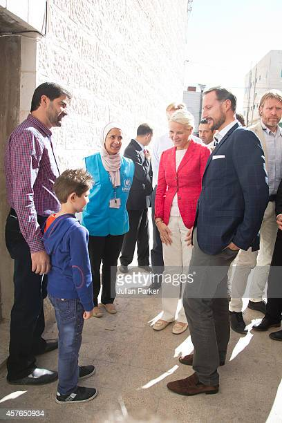 Crown Prince Haakon of Norway and Crown Princess MetteMarit of Norway on the second day of their visit to Jordan Visit a Syrian Refugee Family living...