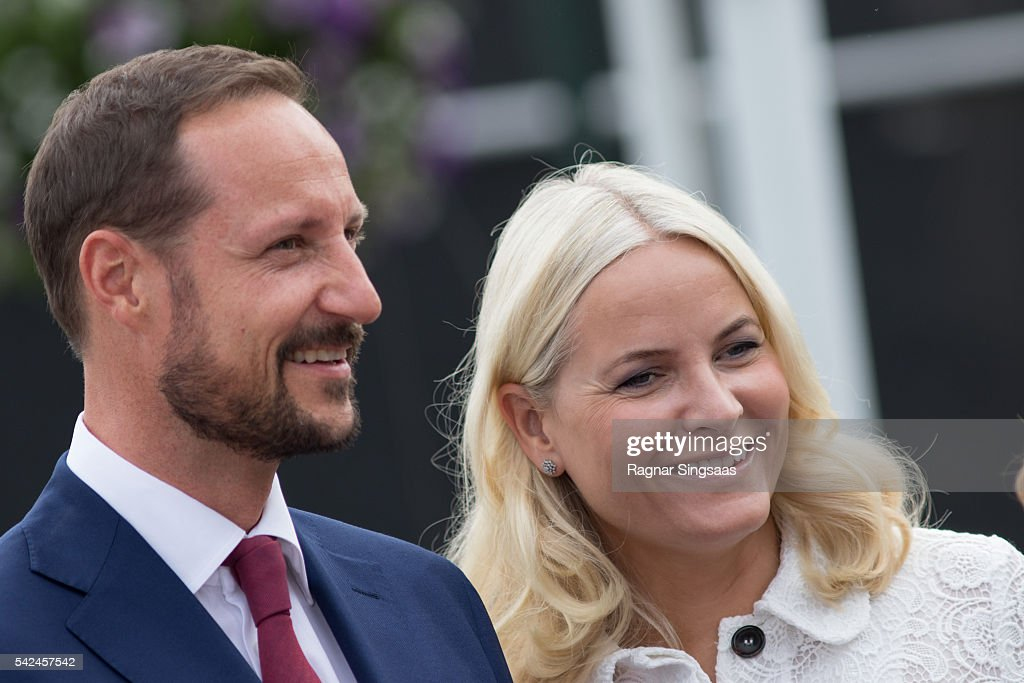 Crown Prince Haakon of Norway and Crown Princess Mette-Marit of Norway attend festivities at the Ravnakloa fish market during the Royal Silver Jubilee Tour on June 23, 2016 in Trondheim, Norway.