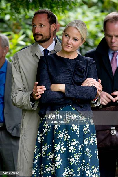 Crown Prince Haakon of Norway and Crown Princess MetteMarit of Norway on a visit to Kristiansand during the King and Queen of Norway's Silver Jubilee...