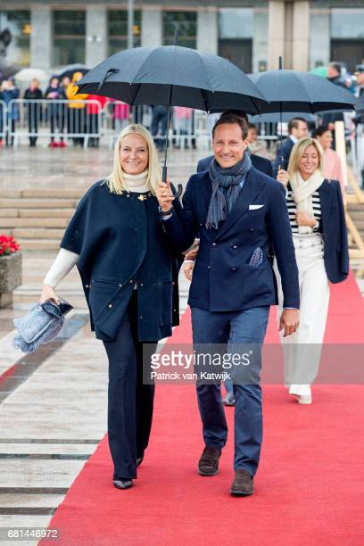 Crown Prince Haakon of Norway and Crown Princess MetteMarit of Norway attend a lunch on the Norwegian Royal yatch 'Norge'to celebrate the 80th...