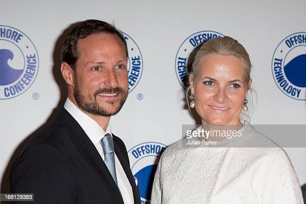 Crown Prince Haakon of Norway and MetteMarit Crown Princess of Norway attend the OTC dinner at Reliant Stadium during day one of their five day...