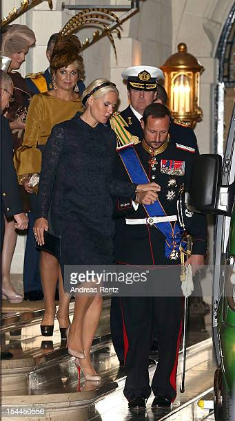 Crown Prince Haakon of Norway and Princess Mette Marit of Norway depart from the Grand Ducal Palace prior to the wedding ceremony of Prince Guillaume...