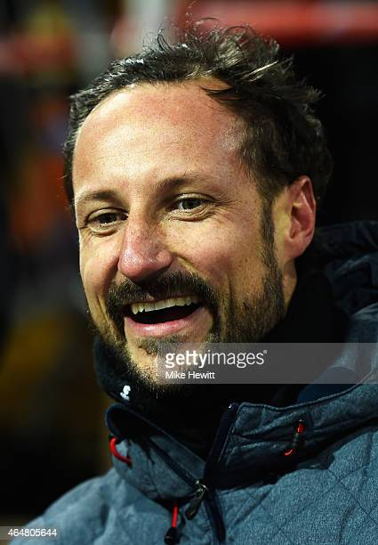 Crown Prince Haakon of Norway attends the Men's Team HS134 Large Hill Ski Jumping during the FIS Nordic World Ski Championships at the Lugnet venue...