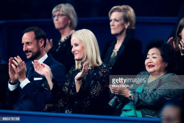 Crown Prince Haakon of Norway Crown Princess MetteMarit of Norway and ICAN campaigner and Hiroshima survivor Setsuko Thurlow attend the Nobel Peace...