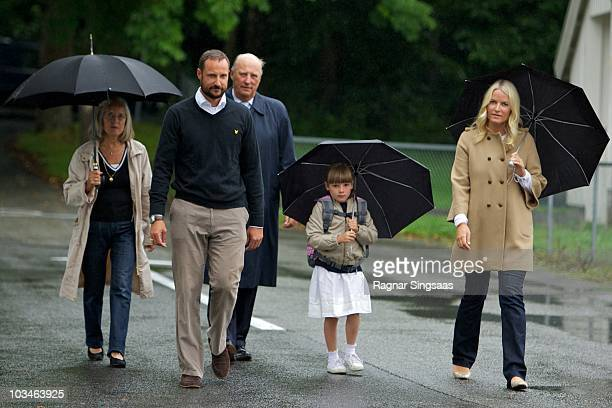 Crown Prince Haakon of Norway King Harald V of Norway Princess Ingrid Alexandra of Norway and Crown Princess MetteMarit of Norway accompanies...