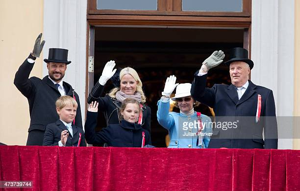 Crown Prince Haakon of Norway Prince Sverre Magnus Crown Princess MetteMarit of Norway Princess Ingrid Alexandra Queen Sonja and King Harald of...