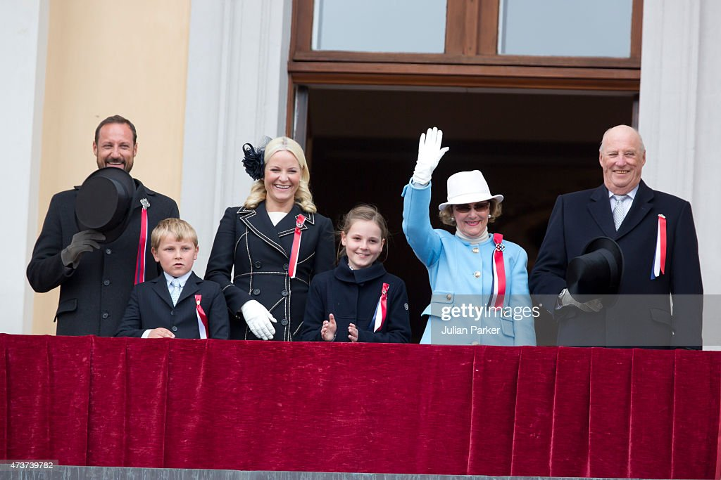 Crown Prince Haakon of Norway, Prince Sverre Magnus, Crown Princess Mette-Marit of Norway, Princess Ingrid Alexandra, Queen Sonja and King Harald of Norway appear on the balcony of The Royal Palace in Oslo to celebrate Norway's National Day, on May 17, 2015 in Oslo, Norway.