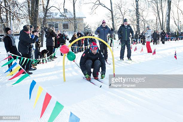 Crown Prince Haakon of Norway seen skiing outside the Palace Square while celebrating the 25th anniversary of King Harald V and Queen Sonja of Norway...