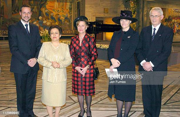 Crown Prince Haakon Shirin Ebadi winner the 2003 Nobel Peace Prize Queen Sonja and Crown Princess MetteMarit of Norway and guest