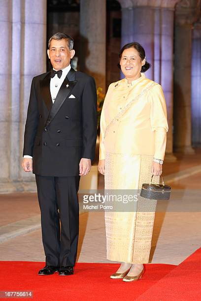 Crown Prince Maha Vajiralongkorn and his sister Maha Chakri Sirindhorn attend a dinner hosted by Queen Beatrix of The Netherlands ahead of her...