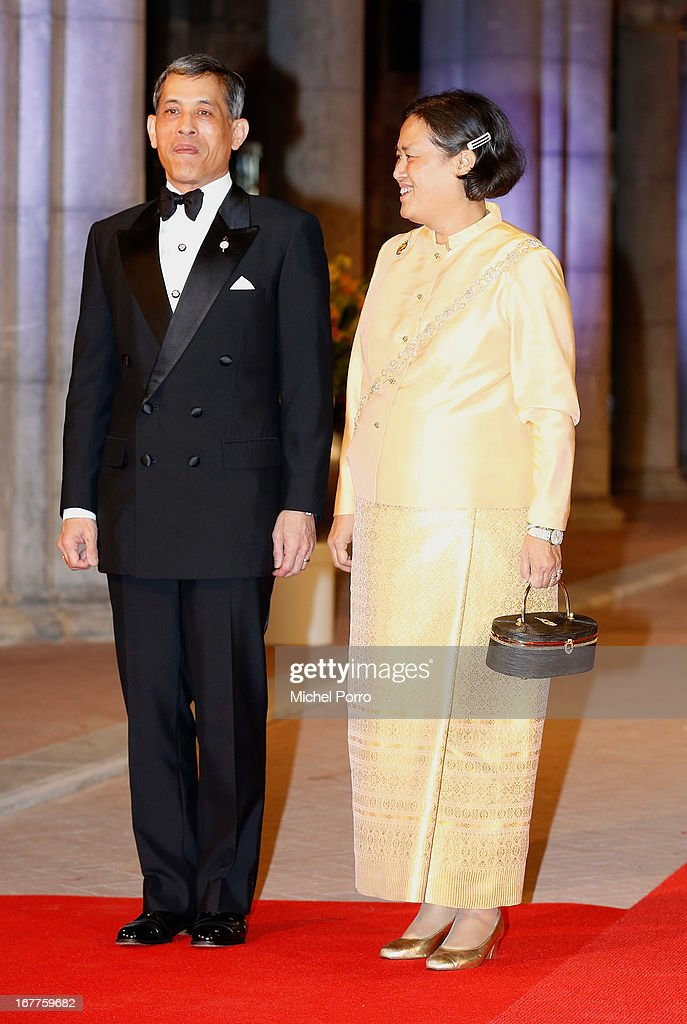Crown Prince <a gi-track='captionPersonalityLinkClicked' href=/galleries/search?phrase=Maha+Vajiralongkorn&family=editorial&specificpeople=584948 ng-click='$event.stopPropagation()'>Maha Vajiralongkorn</a> and his sister <a gi-track='captionPersonalityLinkClicked' href=/galleries/search?phrase=Maha+Chakri+Sirindhorn&family=editorial&specificpeople=572144 ng-click='$event.stopPropagation()'>Maha Chakri Sirindhorn</a> attend a dinner hosted by Queen Beatrix of The Netherlands ahead of her abdication in favour of Crown Prince Willem Alexander at Rijksmuseum on April 29, 2013 in Amsterdam, Netherlands.
