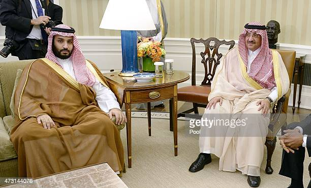 Crown Prince Mohammed bin Nayef and Deputy Crown Prince Mohammed bin Salman of Saudi Arabia look on during a bilateral meeting with US President...