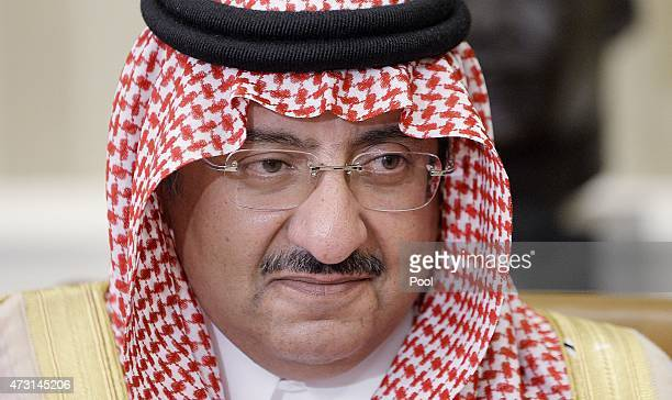 Crown Prince Mohammed bin Nayef of Saudi Arabia looks on in the Oval Office at the White House May 13 2015 in Washington DC The Saudi delegation is...