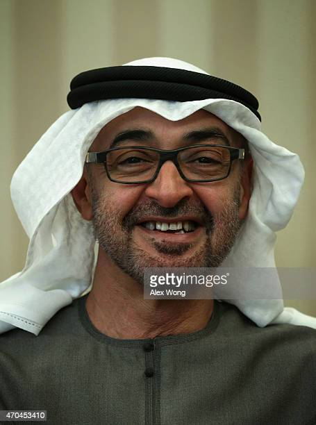 Crown Prince Mohammed Bin Zayed Al Nahyan of Abu Dhabi and deputy supreme commander of the United Arab Emirates Armed Forces smiles during a meeting...