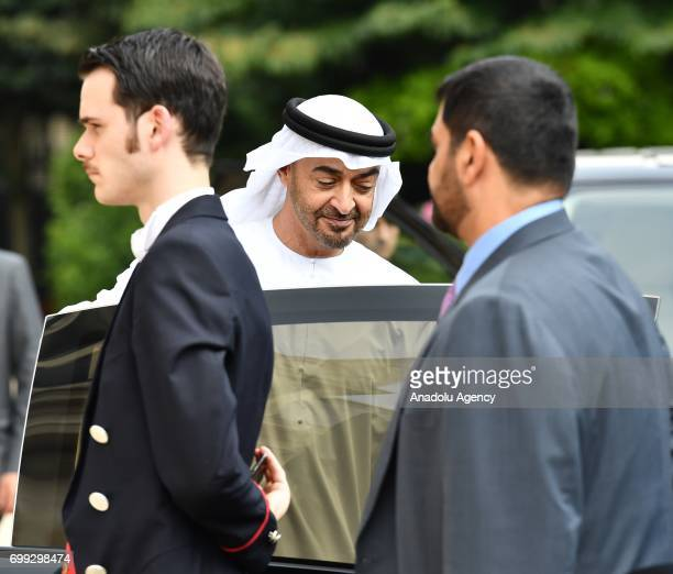 Crown Prince Mohammed Bin Zayed Al Nahyan of the United Arab Emirates leaves after a meeting with French President Emmanuel Macron at the Elysee...