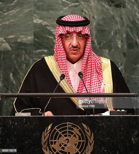 Crown Prince Muhammad bin Nayef of Saudi Arabia addresses the General Assembly at the United Nations on September 21 2016 in New York City Presidents...
