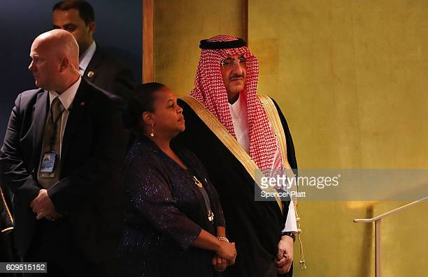 Crown Prince Muhammad bin Nayef of Saudi Arabia prepairs to address the General Assembly at the United Nations on September 21 2016 in New York City...