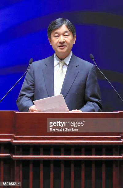 Crown Prince Naruhito addresses during the opening ceremony of the 58th World Conference on Lung Cancer at Pacifico Yokohama on October 15 2017 in...