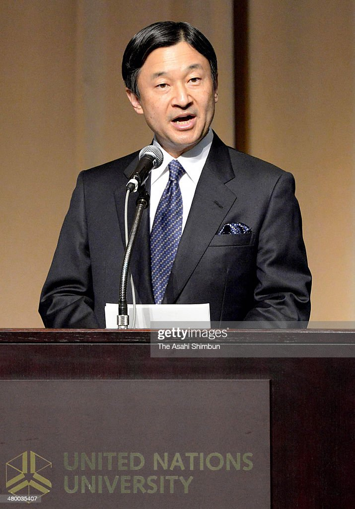 <a gi-track='captionPersonalityLinkClicked' href=/galleries/search?phrase=Crown+Prince+Naruhito&family=editorial&specificpeople=158365 ng-click='$event.stopPropagation()'>Crown Prince Naruhito</a> addresses during the World Water Day ceremony at United Nations University on March 21, 2014 in Tokyo, Japan.