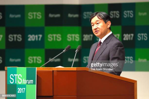 Crown Prince Naruhito addresses the opening remarks during the opening ceremony of the Science and Technology in Society forum on October 3 2017 in...