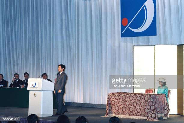 Crown Prince Naruhito addresses while Crown Princess Masako listens during the opening ceremony of the InterParliamentary Union AsiaPacific Science...