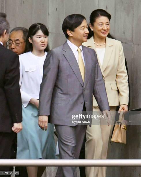 Crown Prince Naruhito along with his wife Crown Princess Masako and daughter Princess Aiko arrives at the venue of a wheelchair basketball game in...