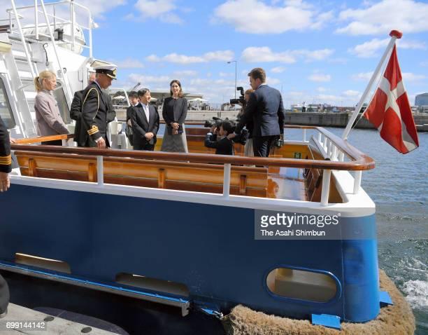 Crown Prince Naruhito and Crown Princess Mary of Denmark cruise around Copenhagen Harbour on June 20 2017 in Copenhagen Denmark
