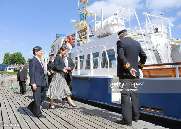 Crown Prince Naruhito and Crown Princess Mary of Denmark get a boat cruise around Copenhagen Harbour on June 20 2017 in Copenhagen Denmark