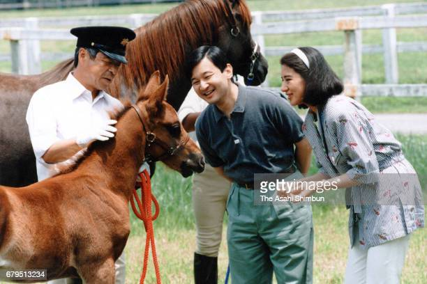 Crown Prince Naruhito and Crown Princess Masako are seen at the Imperial Stock Farm on June 19 1997 in Takanezawa Tochigi Japan