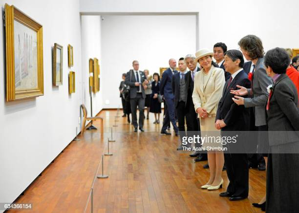 Crown Prince Naruhito and Crown Princess Masako are seen during the opening ceremony of the 'Skagen An Artists' Colony in Denmark' exhibition at the...