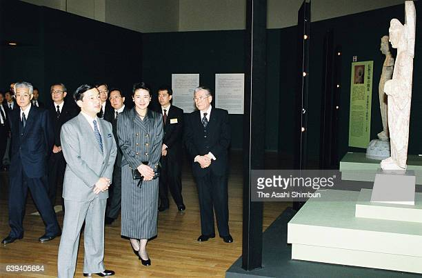 Crown Prince Naruhito and Crown Princess Masako are seen during their visit to the 'Treasure of Ancient China' at the Tokyo National Museum on...