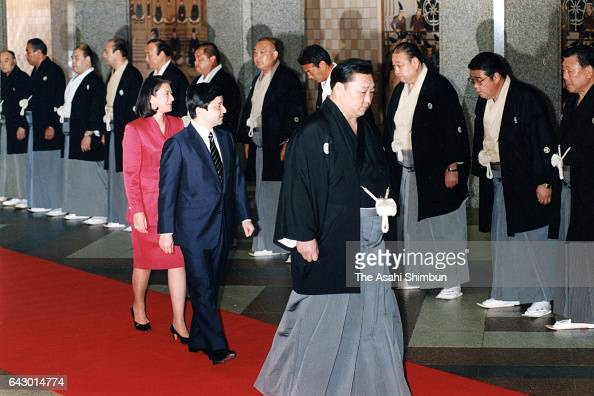 Crown Prince Naruhito and Crown Princess Masako are seen on arrival at the Ryogoku Kokugikan too see sumo bouts during day one of the Grand Sumo...