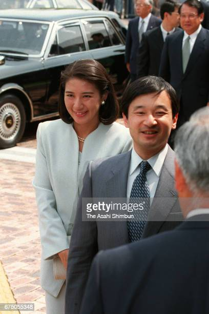 Crown Prince Naruhito and Crown Princess Masako are seen on arrival at Fukuoka City Public Library on May 10 1997 in Fukuoka Japan