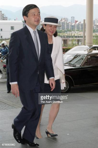 Crown Prince Naruhito and Crown Princess Masako are seen on arrival at Asian Development Bank General Assembly opening ceremony at Fukuoka Seahawk...