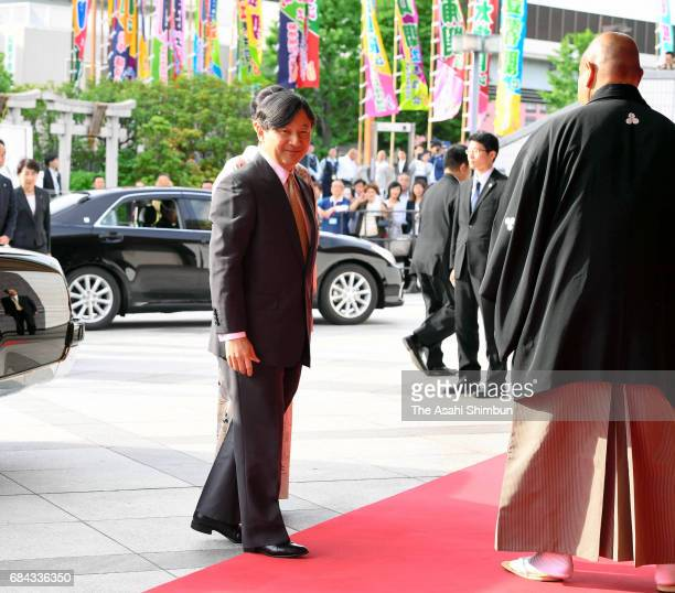 Crown Prince Naruhito and Crown Princess Masako are seen on arrival during day one of the Grand Sumo Summer Tournament at Ryogoku Kokugikan on May 14...