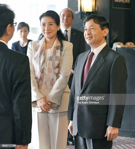 Crown Prince Naruhito and Crown Princess Masako are seen on arrival at the International Youth Conference on September 27 2017 in Tokyo Japan