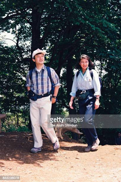 Crown Prince Naruhito and Crown Princess Masako are seen on the summit of the Mt Takamizusan on June 16 1994 in Ome Tokyo Japan