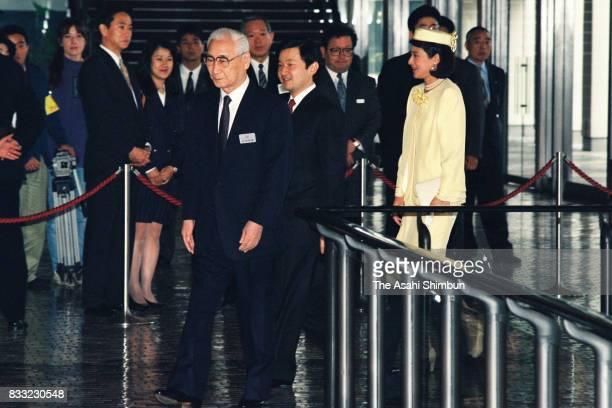 Crown Prince Naruhito and Crown Princess Masako are seen prior to the 'Kikuei Shinbokukai' meeting of the royal family members and cedeced royal...