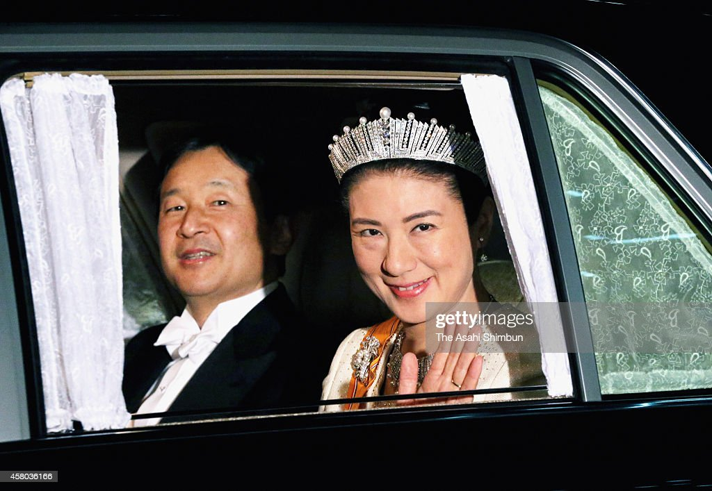 Crown Prince Naruhito and Crown Princess Masako are seen upon arrival at the Imperial Palace to attend the state dinner for King Willem-Alexander and Queen Maxima of the Netherlands on October 29, 2014 in Tokyo, Japan. The Dutch King and Queen are on six-day tour in Japan. Princess Masako attends the state dinner for the first time in 11 years.