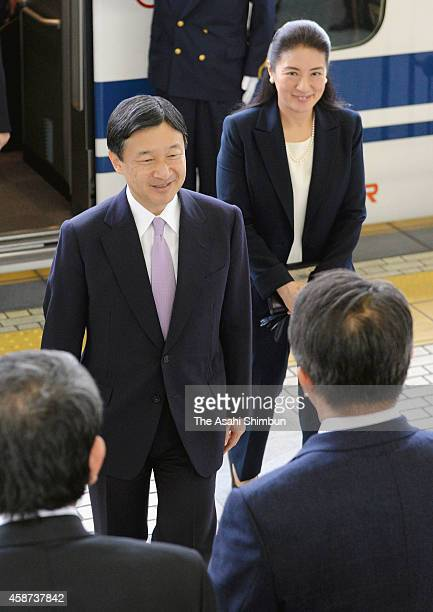 Crown Prince Naruhito and Crown Princess Masako are seen upon arrival at Nagoya Station to attend the UNESCO World Conference on Education for...