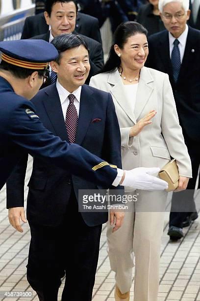 Crown Prince Naruhito and Crown Princess Masako are seen upon departure at Nagoya Station on November 10 2014 in Nagoya Aichi Japan