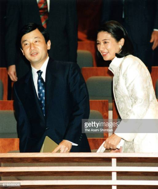 Crown Prince Naruhito and Crown Princess Masako attend a Philharmonia Orchestra concert at Tokyo International Forum on May 15 1997 in Tokyo Japan
