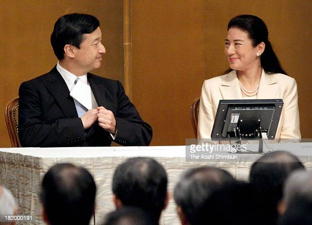 Crown Prince Naruhito and Crown Princess Masako attend the 20th anniversary ceremony of the International Youth Exchange on September 26 2013 in...