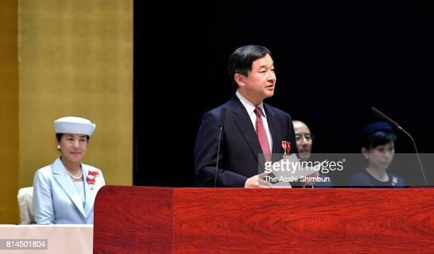 Crown Prince Naruhito and Crown Princess Masako attend the 53rd Blood Donation Movement Promotion Meeting on July 12 2017 in Akita Japan