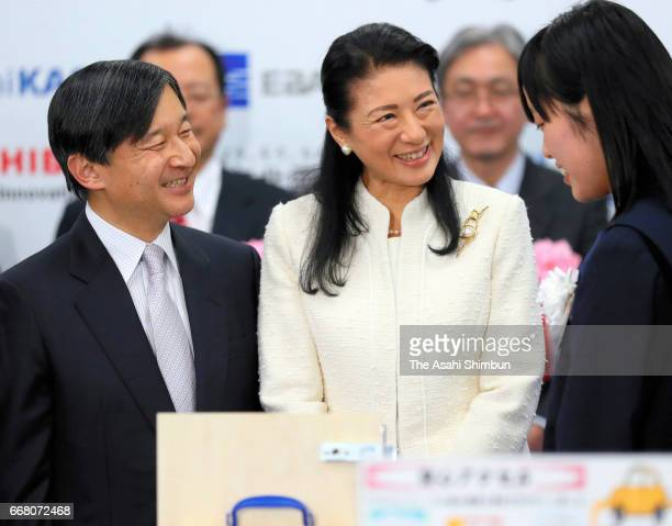 Crown Prince Naruhito and Crown Princess Masako attend the award ceremony of the national youth invention contest at the Science Museum on March 24...